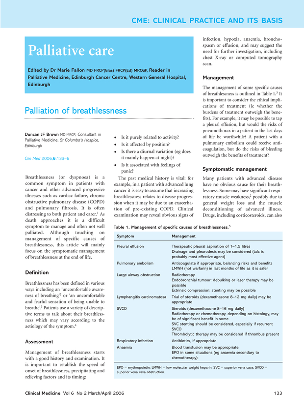 palliation of breathlessness rcp journals rcp journals